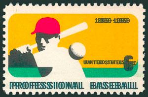 1969 Baseball Stamp – 100th Anniversary of Professional Baseball, Double Impression of Black Plate Error