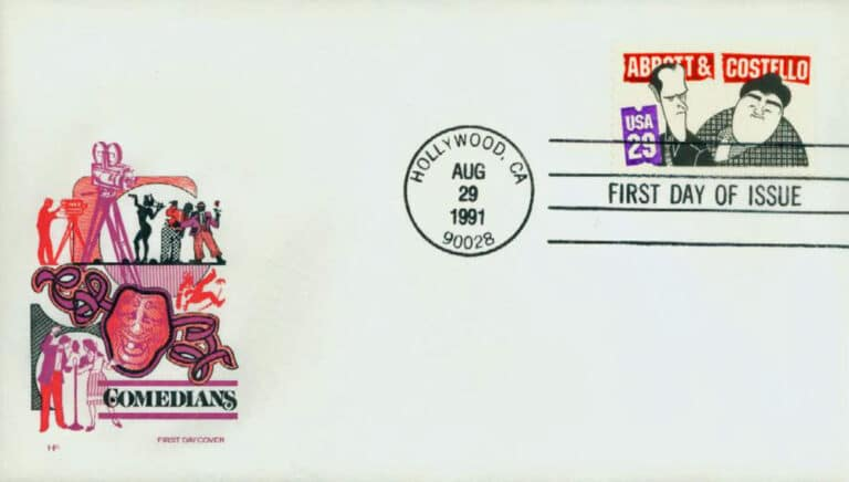 1991 Abbott & Costello Postage Stamps First Day Cover