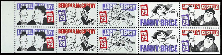 Abbott & Costello, Laurel & Hardy, Bergen & McCarthy, Jack Benny, and Fanny Brice Postage Stamps