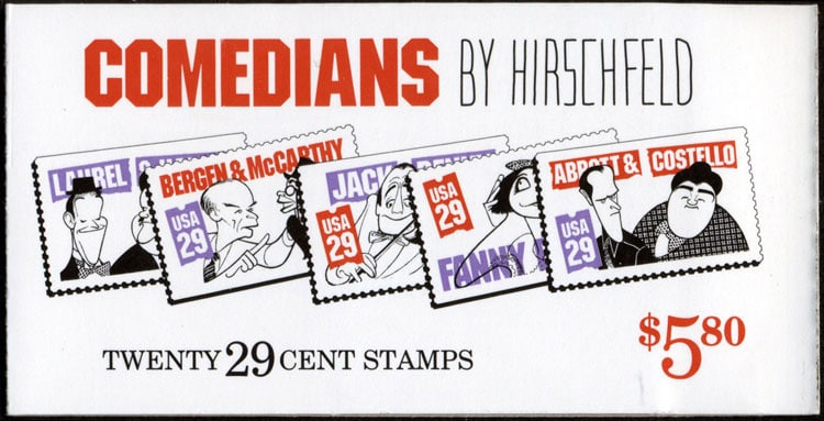 Comedians by Hirschfield - U.S. Postage Stamp Artwork