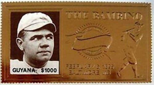 1995 Guyana – 100th Anniversary of Babe Ruth, Gold Stamp 2