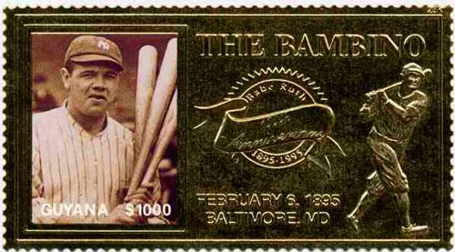 1995 Guyana – 100th Anniversary of Babe Ruth, Gold Stamp 1