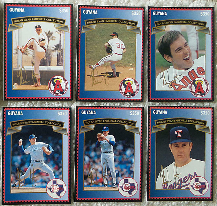 1995 Guyana – Nolan Ryan Farewell Collection Stamp Cards, first 6 cards