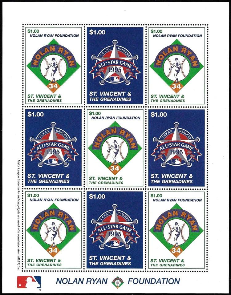 1995 St. Vincent – Nolan Ryan, The Ranger Years, sheet 1