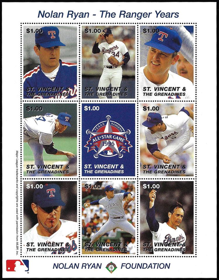 1995 St. Vincent – Nolan Ryan, The Ranger Years, sheet 3