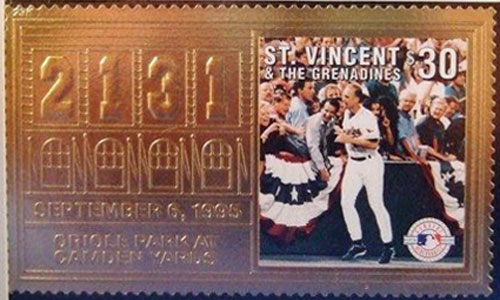 1996 St. Vincent – Cal Ripken, 2131 Games, 23k Gold