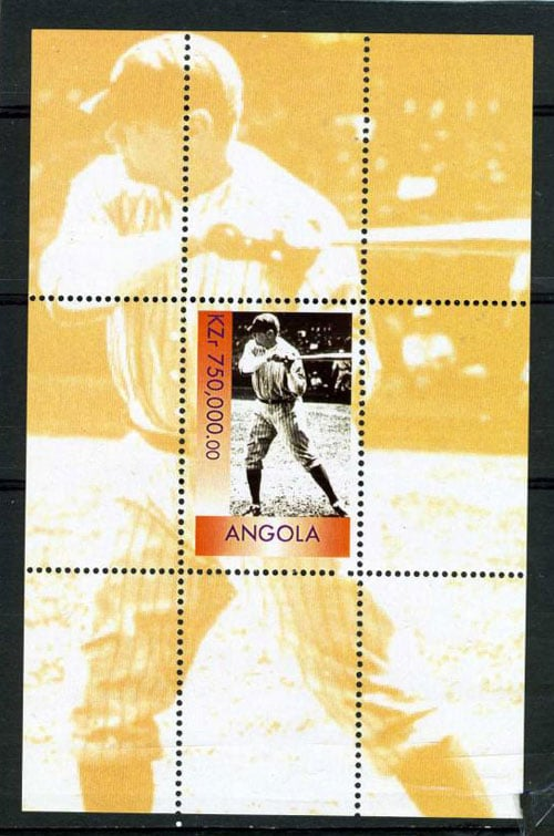 1999 Angola – Great People of the 20th Century, Babe Ruth Souvenir Sheet, 750,000 KZ