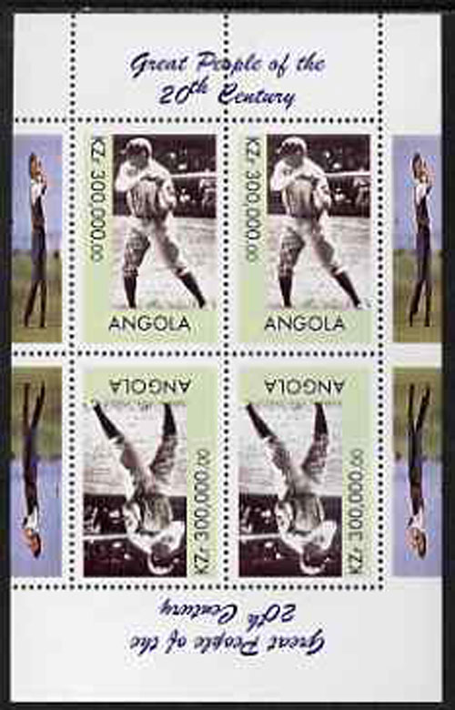 1999 Angola – Great People of the 20th Century, Babe Ruth Souvenir Sheet, 300,000 KZ