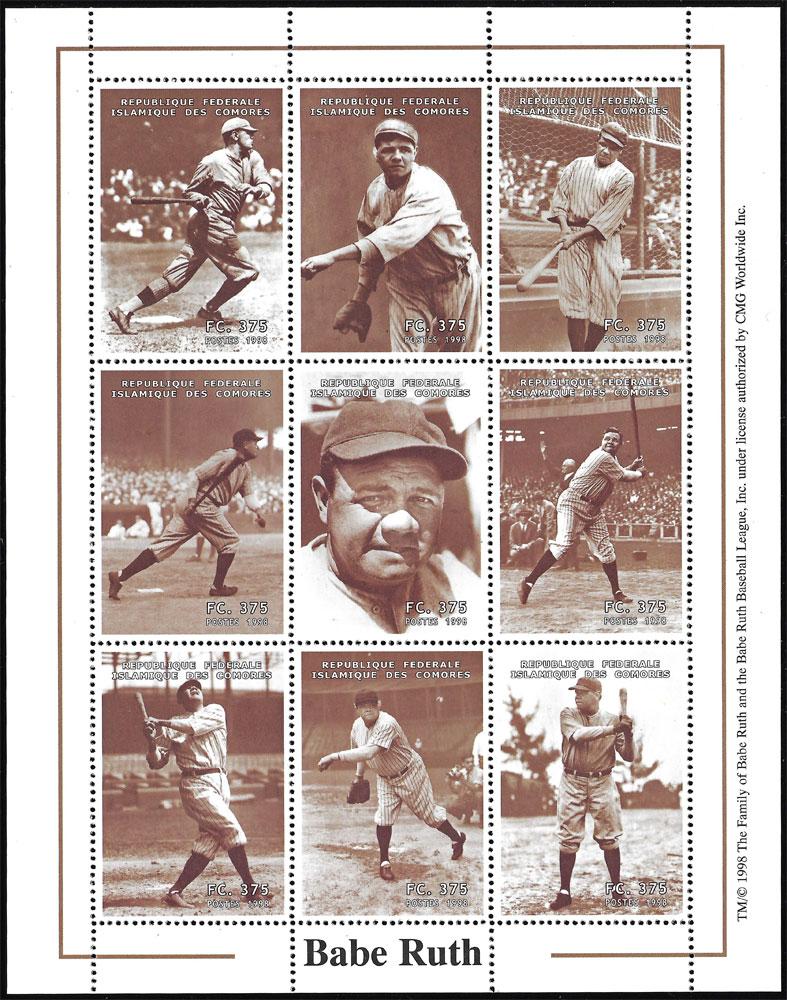 1999 Comores – Babe Ruth Souvenir Sheet