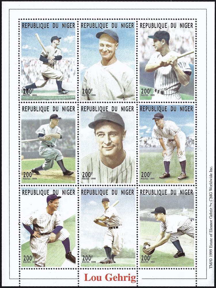 1999 Niger – Lou Gehrig Souvenir Sheet