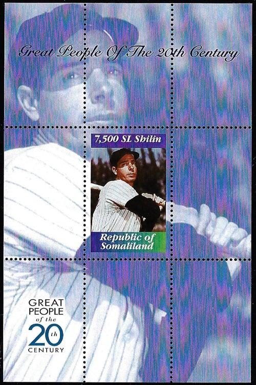 1999 Somaliland – Great People of the 20th Century, Joe DiMaggio Souvenir Sheet
