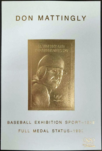 1992 St. Vincent – Olympic Games, Don Mattingly, Baseball Exhibition Sport, Gold Medal