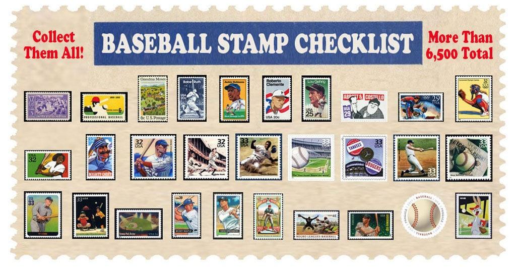 Baseball Postage Stamp Checklist