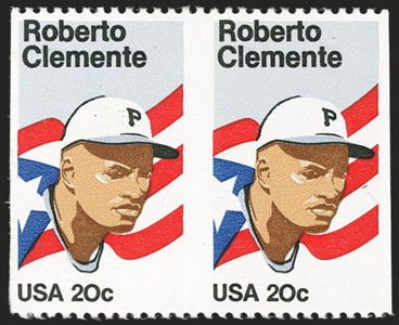 Roberto Clemente, 1984 U.S. Postage Stamp with Horizontal Pair Imperforate