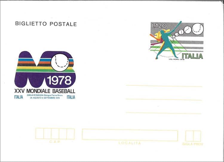 1978 Italy – XXV Mondiale Baseball Pre-Paid Cover