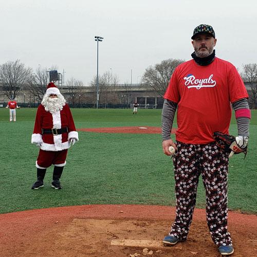 Jay Thomas Pitching for Santa's Stompers