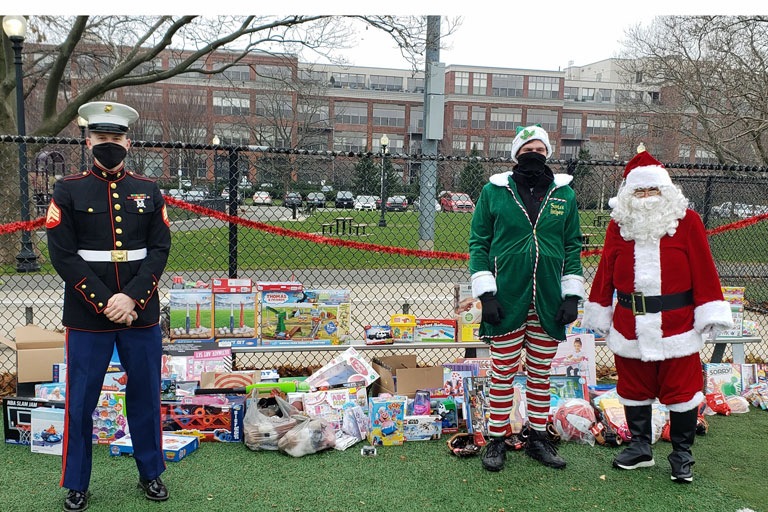 Sgt. William Neill and the Umpires, Santa and his Elf
