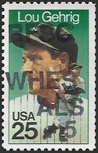 Lou Gehrig, 1989 U.S. Postage Stamp – Ben Franklin Stamp Club of WHES for ALS