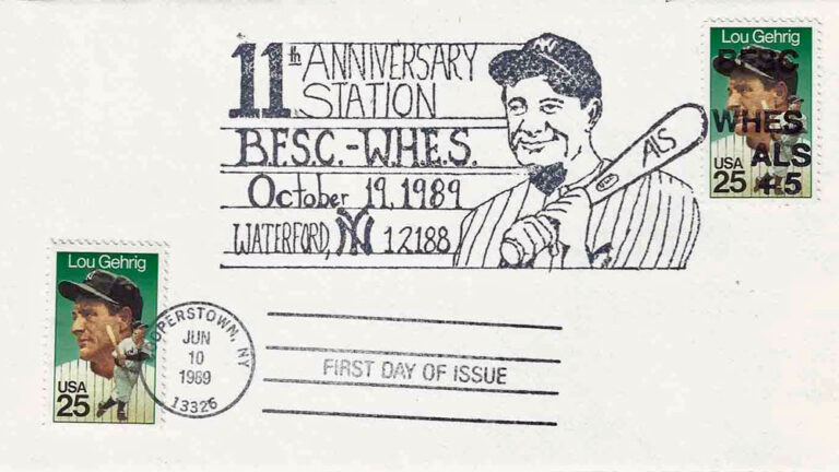 Lou Gehrig, 1989 First Day Cover – Ben Franklin Stamp Club of WHES for ALS