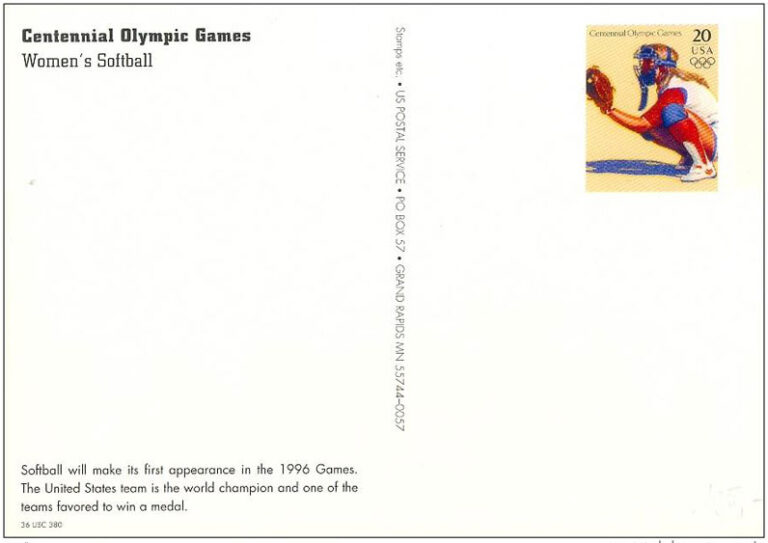 Women's Softball, 1996 Summer Olympics, U.S. Prepaid Postcard