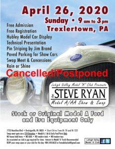 The Steve Ryan Model A/AA Show and Swap Meet - CANCELLED/POSTPONED @ Breinigsville | Pennsylvania | United States