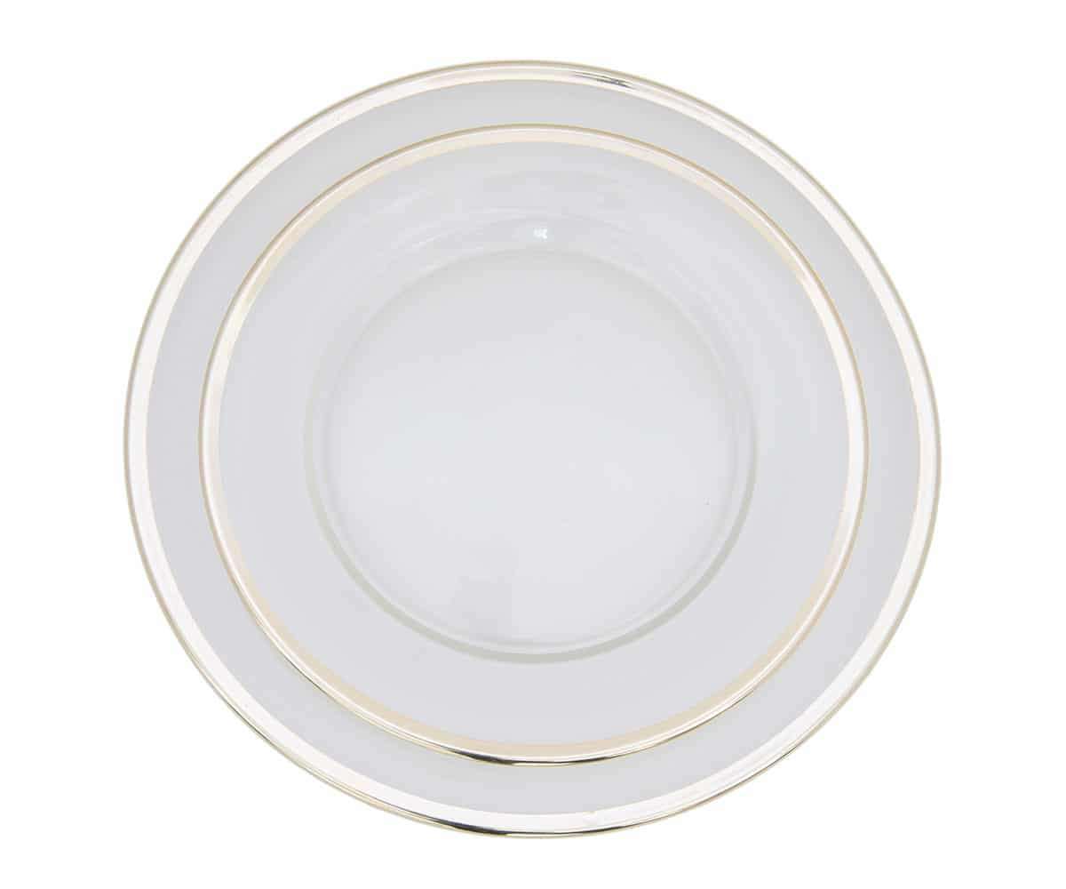 glass gold rimmed charger lovely luxe rentals