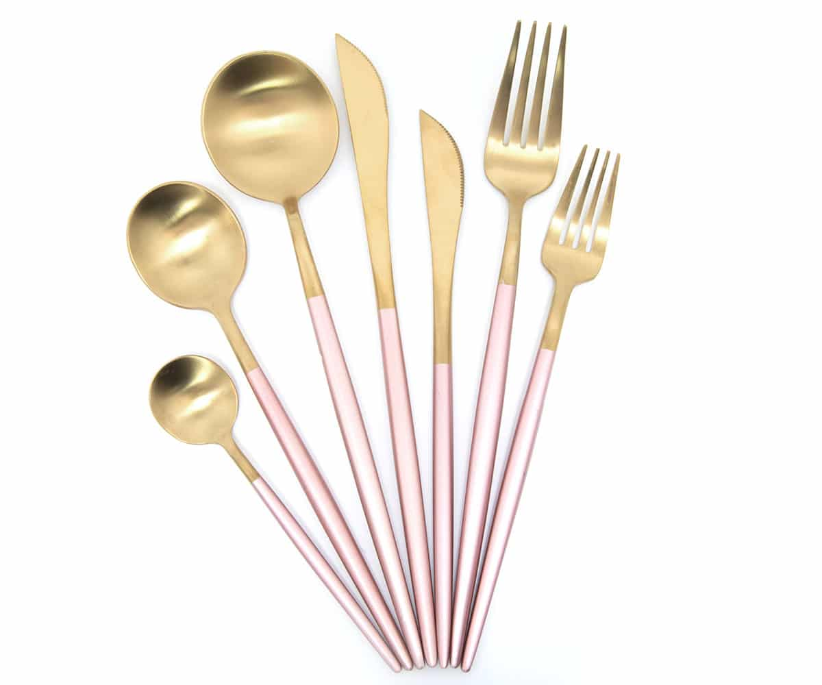 Pink and Gold Carmine Flatware
