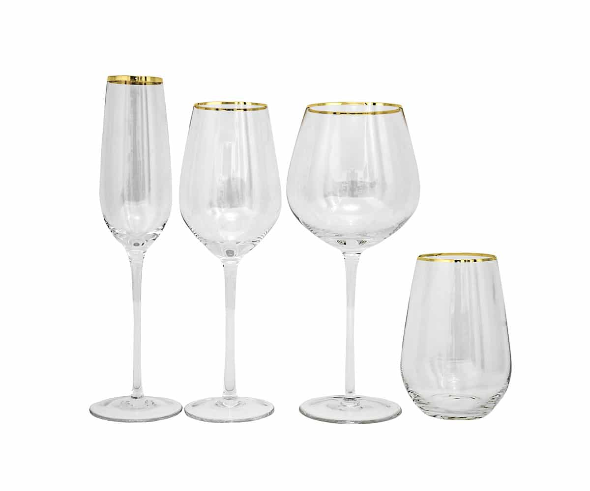 Clear Gold Rim Glassware Lovely Luxe Rentals