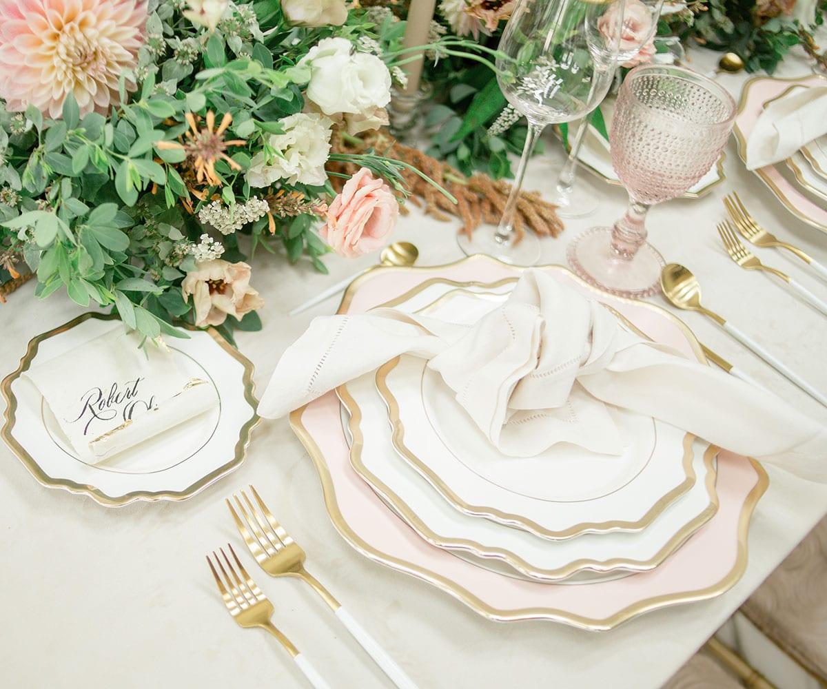 porcelain scalloped plates dinnerware lovely luxe rentals
