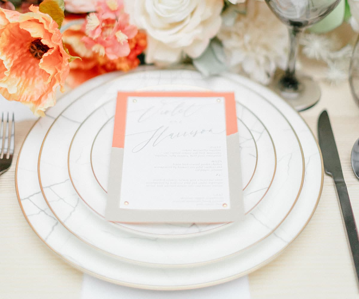 marble gold rimmed modern charger lovely luxe rentals