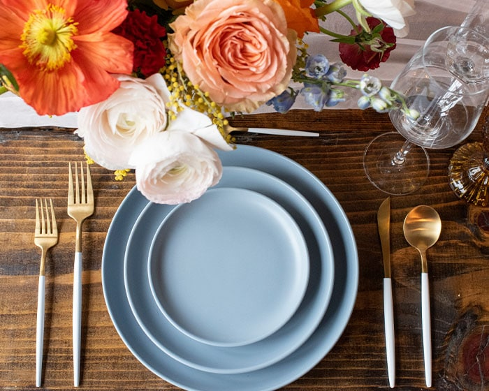 stoneware matte coupe plates blue hudson dinnerware lovely luxe rentals