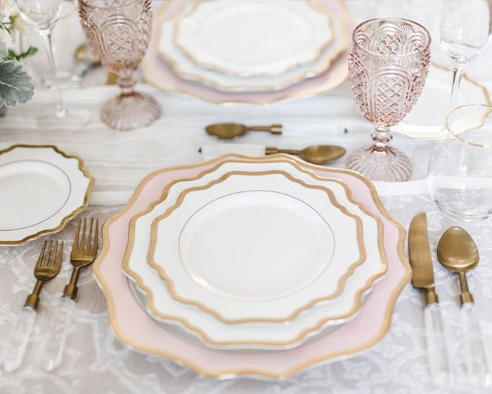 blush pink scalloped charger lovely luxe rentals