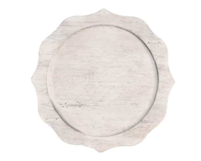 whitewashed wood scalloped reclaimed wood charger lovely luxe rentals