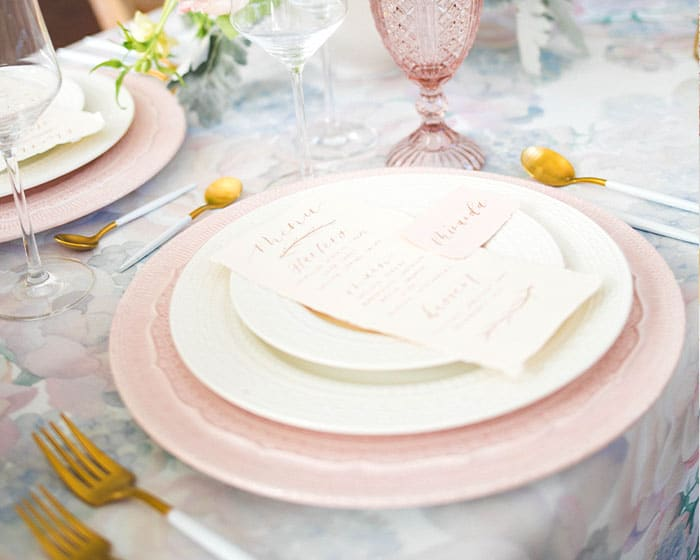 italian porcelain lace pink blush charger lovely luxe rentals