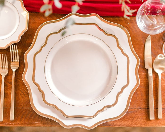 scalloped gold rimmed charger white lexington by lovely luxe rentals