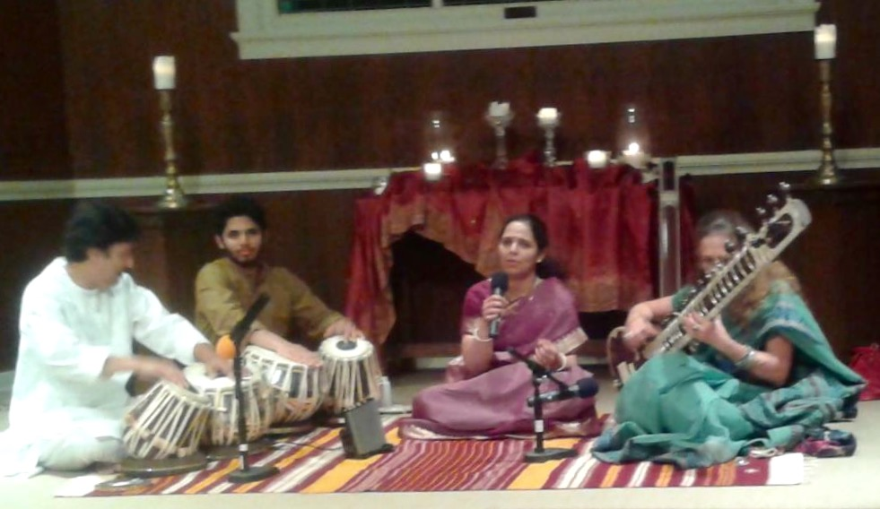 With Aparna Shah, Shantilal Shah, and Anuraag Shah at the Unity Church in Dallas, TX