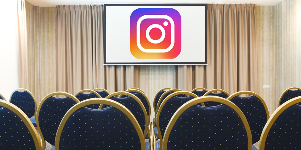 conference room with instagram logo on projector screen