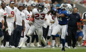 12 September 2010: Houston Texans running back Arian Foster (23) stiff arms Indianapolis Colts free safety Antoine Bethea (41) as he looks to gain a few extra yards in the second half of the Indianapolis Colts vs. Houston Texans football game at Reliant Stadium on Sunday September 12, 2010 in Houston, Texas. Houston won 34-24.