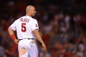 Los Angeles Angels first baseman Albert Pujols (5). Credit: Jake Roth-US PRESSWIRE