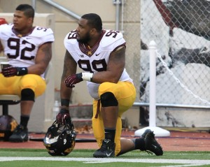 Minnesota Golden Gophers defensive lineman Ra'Shede Hageman (99) during the game against the Indiana Hoosiers at Memorial Stadium. Minnesota won 42-39. Mandatory Credit: Pat Lovell-USA TODAY Sports