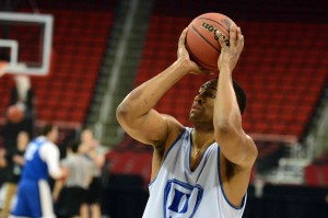 Duke Blue Devils forward Jabari Parker (1) shoots the ball during practice before the second round of the 2014 NCAA Tournament at PNC Arena. Mandatory Credit: Rob Kinnan-USA TODAY Sports