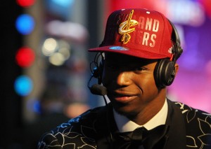 Andrew Wiggins (Kansas) is interviewed after being selected as the number one overall pick to the Cleveland Cavaliers in the 2014 NBA Draft at the Barclays Center. Mandatory Credit: Brad Penner-USA TODAY Sports