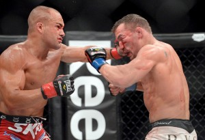 Eddie Alvarez (red gloves ) and Michael Chandler (blue gloves) during their Bellator Lightweight World Championship fight at the Long Beach Arena. Alvarez won the fight. Mandatory Credit: Jayne Kamin-Oncea-USA TODAY Sports