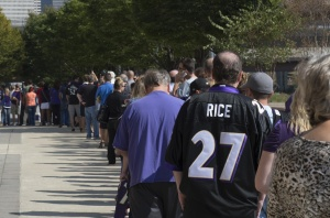 Baltimore Ravens fans wait in line over an hour to exchange their Ray Rice jerseys for new NFL jerseys at M&T Bank Stadium. Mandatory Credit: Tommy Gilligan-USA TODAY Sports