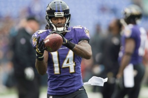 Baltimore Ravens wide receiver Marlon Brown (14) makes a catch prior to the game against the Jacksonville Jaguars at M&T Bank Stadium. Mandatory Credit: Tommy Gilligan-USA TODAY Sports