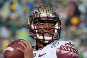 Florida State Seminoles quarterback Jameis Winston (5) warms up before the 2015 Rose Bowl college football game against the Oregon Ducks at Rose Bowl. Mandatory Credit: Kirby Lee-USA TODAY Sports
