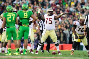 Florida State Seminoles offensive tackle Cameron Erving (75) gestures during the second half of the 2015 Rose Bowl college football game against the Oregon Ducks at Rose Bowl. Mandatory Credit: Robert Hanashiro-USA TODAY Sports