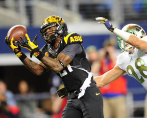 ASU WR Jaelen Strong makes a catch against Notre Dame. Via Philadelphia Inquirer.