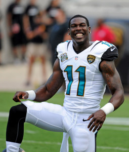 Marqise Lee (11) warms up prior to the preseason game against the Tampa Bay Buccaneers at EverBank Field. Mandatory Credit: Melina Vastola-USA TODAY Sports