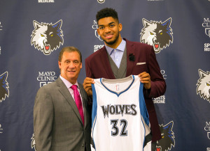 Karl Towns, the #1 pick, is represented by Leon Rose of CAA Sports (Photo Credit: Brad Rempel-USA TODAY Sports)